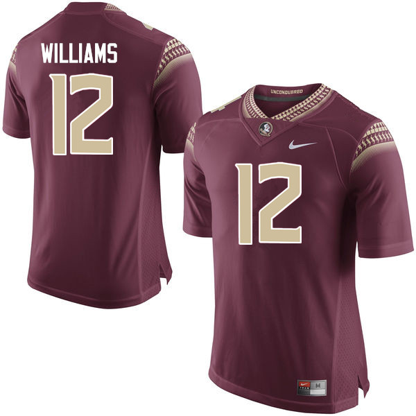 Men #12 Arthur Williams Florida State Seminoles College Football Jerseys-Garnet